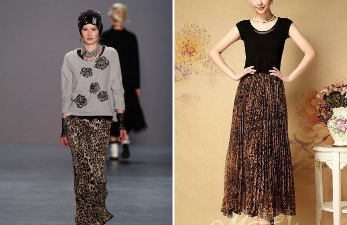 Длинная леопардовая юбка из шифона