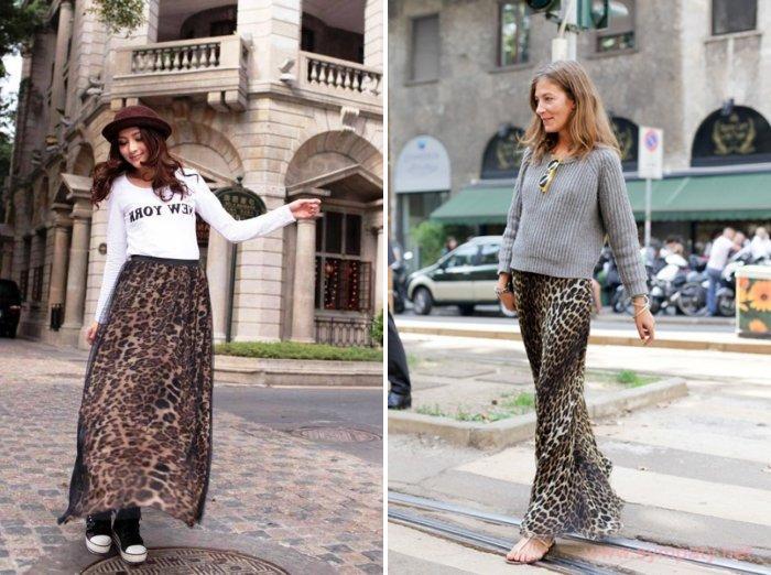 Длинная леопардовая юбка из шелка