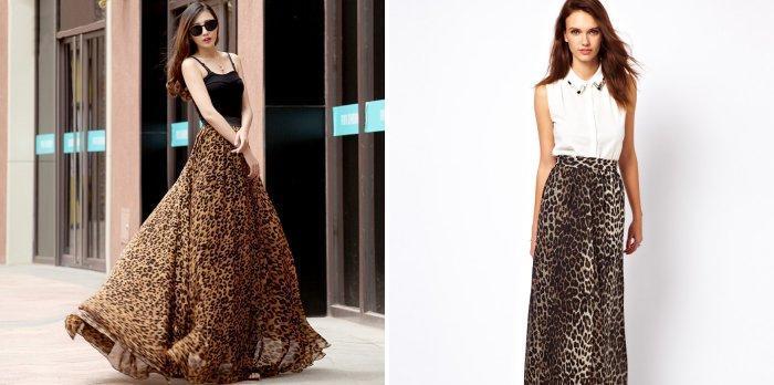 Длинная леопардовая юбка с однотонным верхом