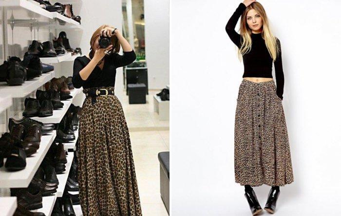 Длинная леопардовая юбка с черной водолазкой