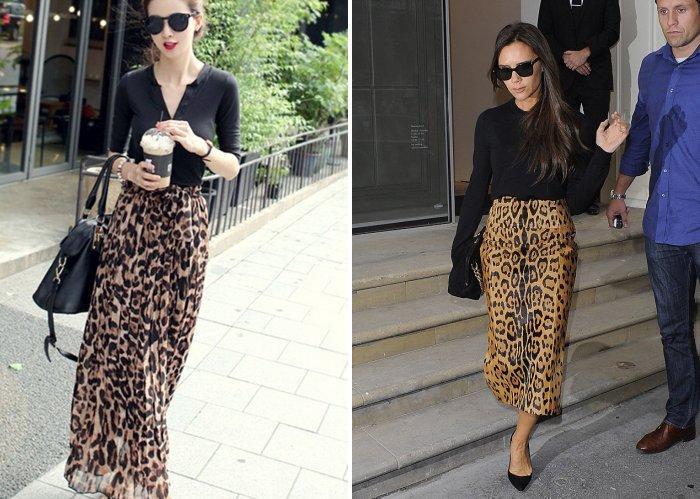 Длинная леопардовая юбка с черной блузой