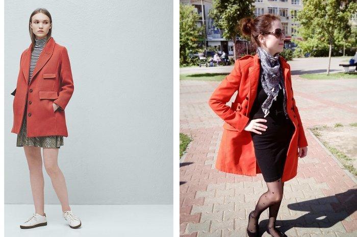 Стильное оранжевое пальто