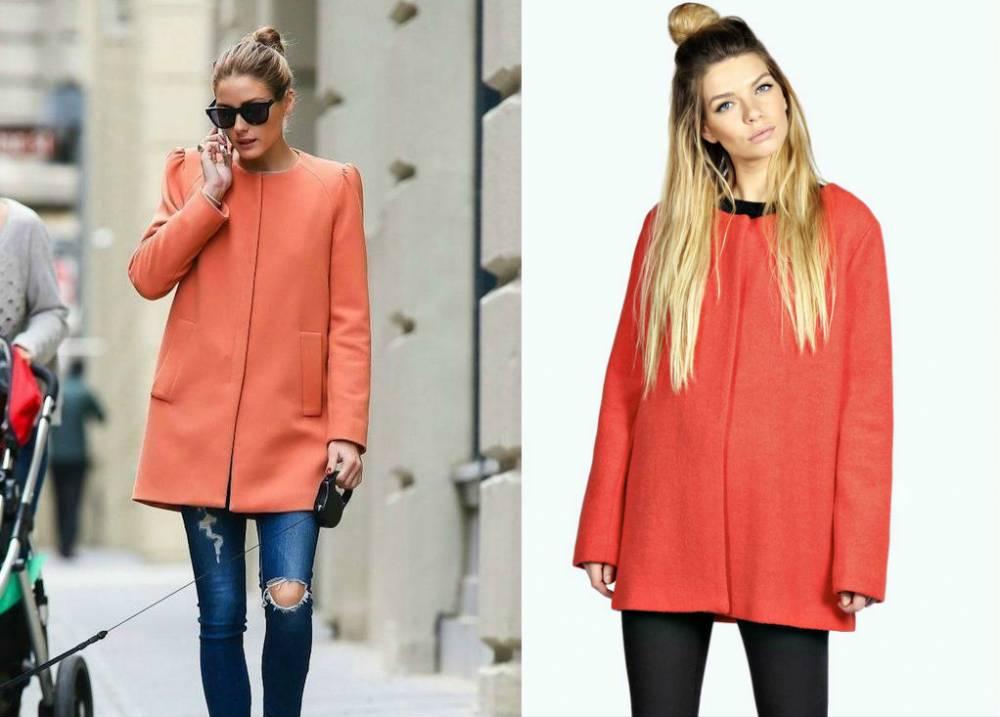 Оранжевое пальто прямого покроя