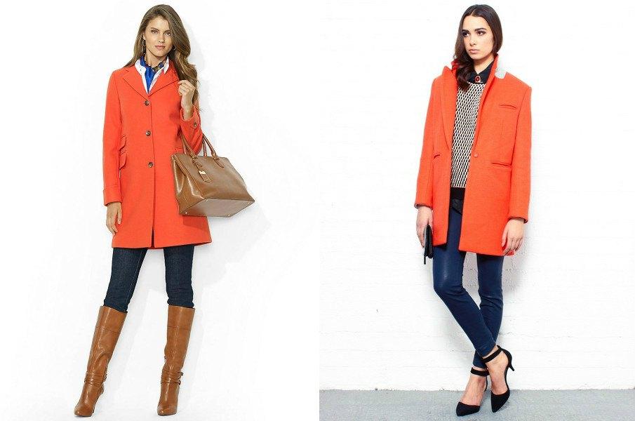 Элегантное оранжевое пальто