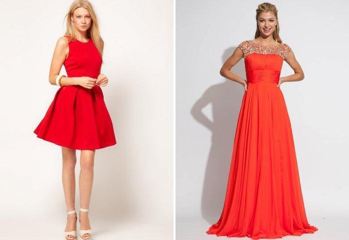 Платье на свадьбу кораллового и красного цвета