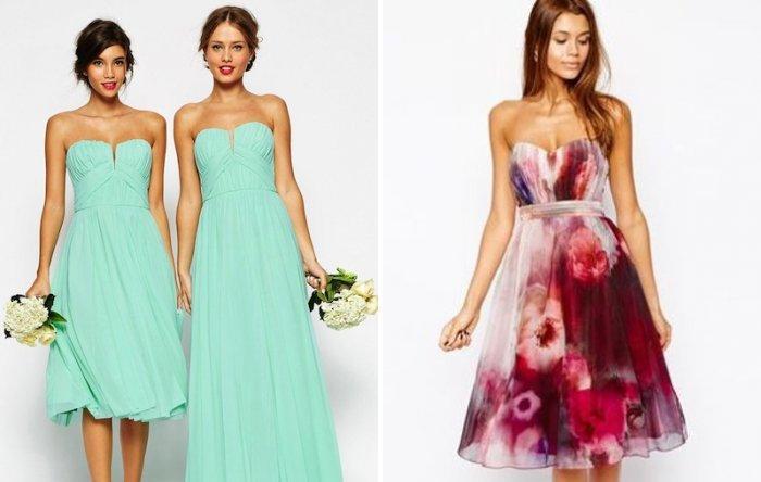 Платье на свадьбу однотонное и цветное