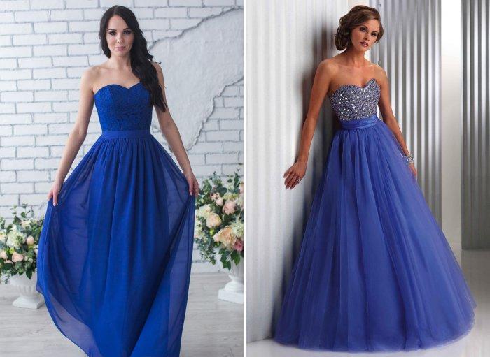Длинное синее вечернее платье на свадьбу