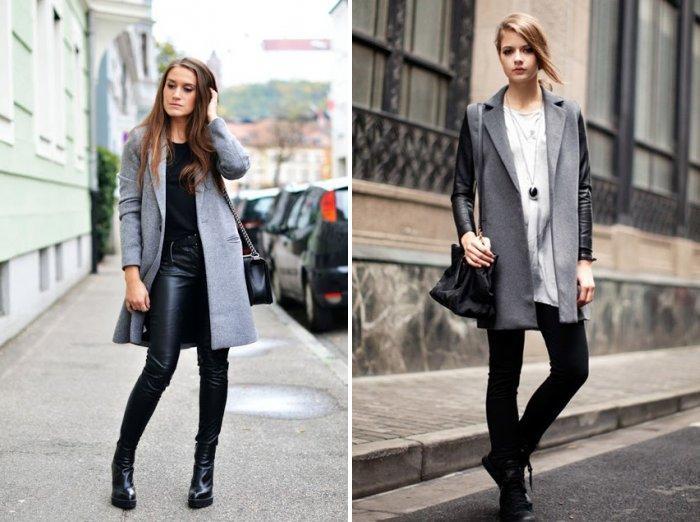 Серое пальто с кожаными леггинсами