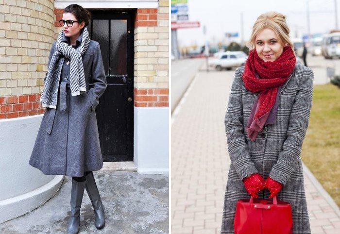 Подбираем шарф к серому пальто