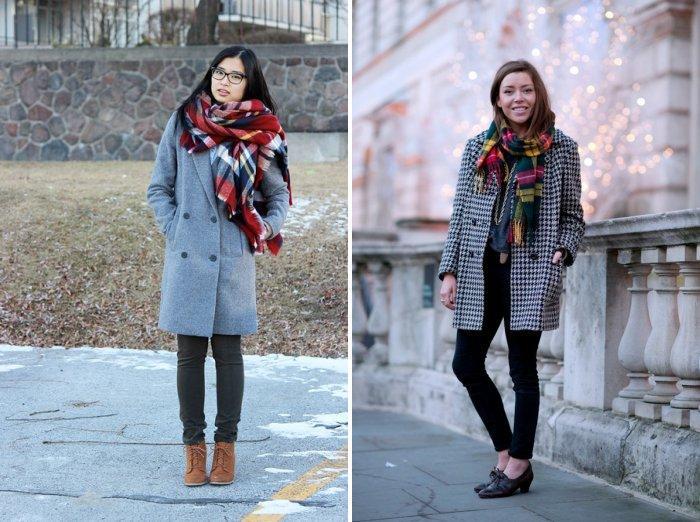 Серое пальто в сочетании с клетчатым шарфом