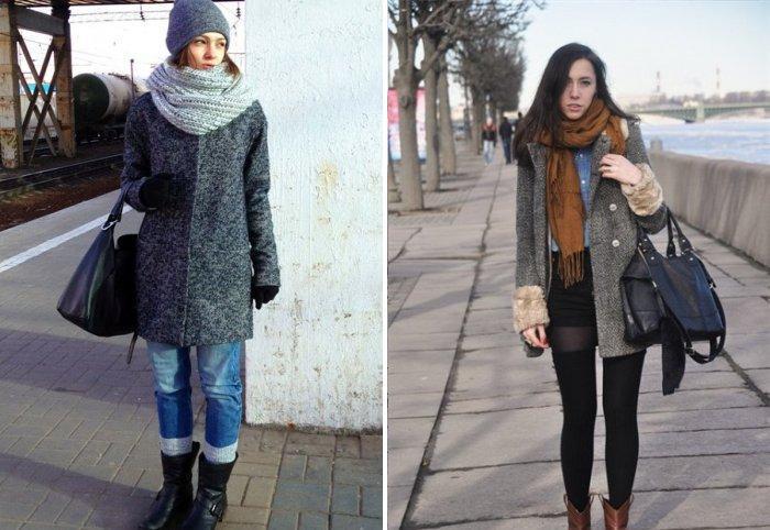 Стильное серое пальто с шарфом