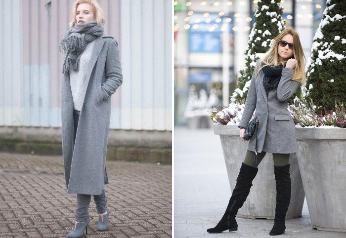 Серое пальто с серым шарфом