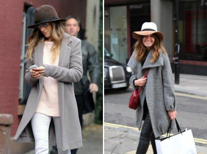 Серое пальто в сочетании с фетровой шляпой
