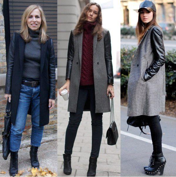 Серое пальто с кожаными рукавами