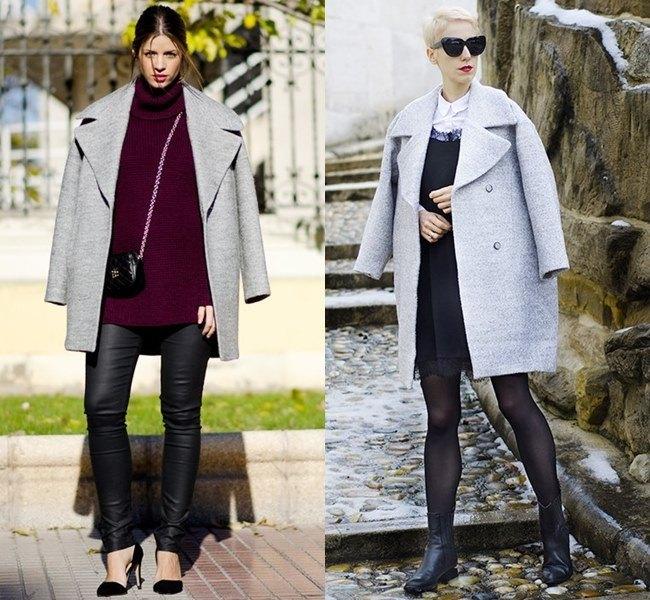 Серое пальто модели оверсайз