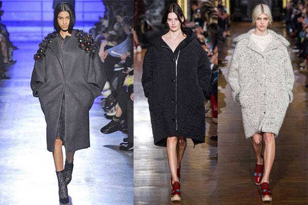 Серое пальто с объемными рукавами