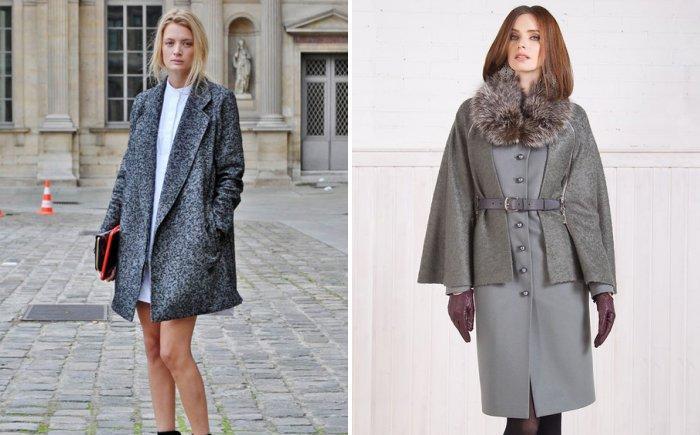 Серое пальто с платьем футляром