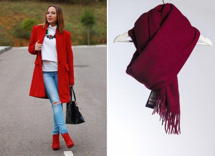 Бордовый палантин к красному пальто