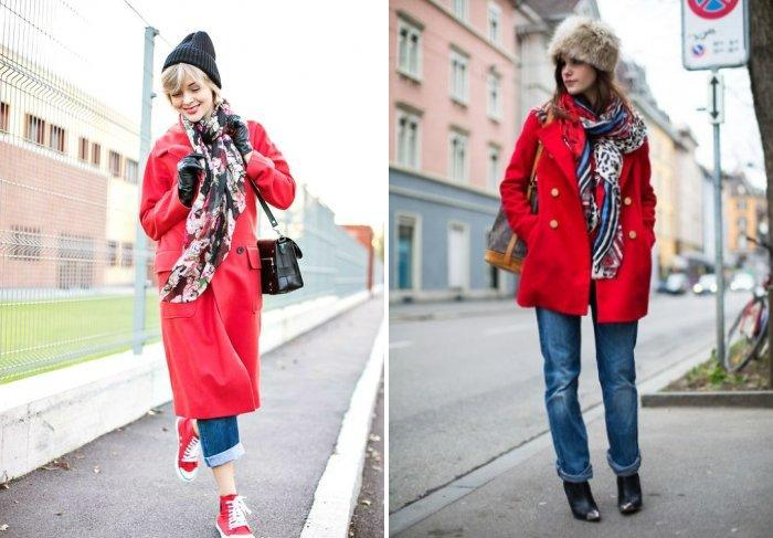 Яркий платок к красному пальто