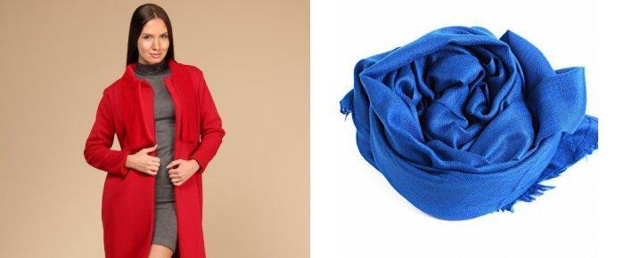 Синий шарф к красному пальто