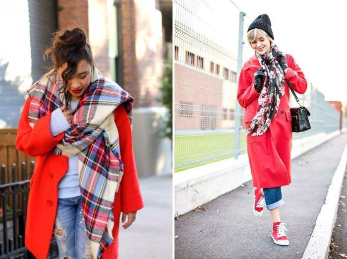 Стильный платок к красному пальто