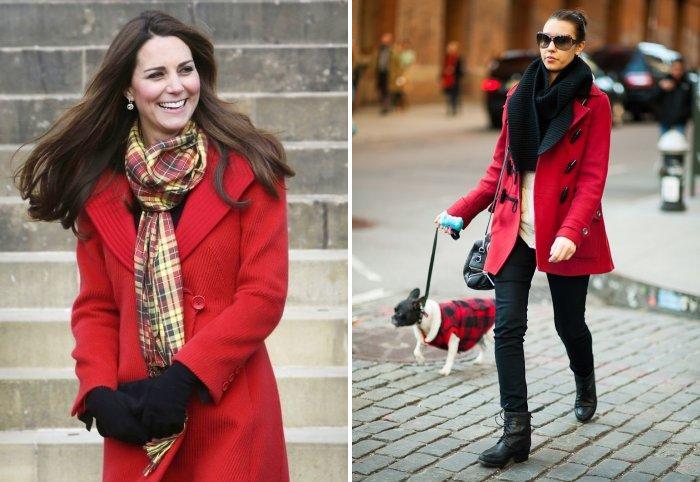 Строгий шарф к классическому красному пальто