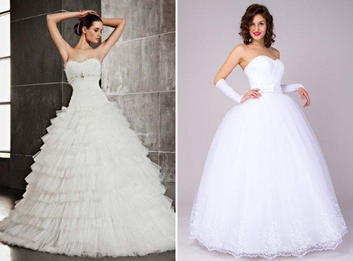 Классическое свадебное платье с пышными оборками на юбке