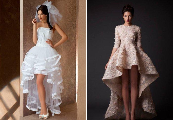 Свадебное платье с асимметричным подолом