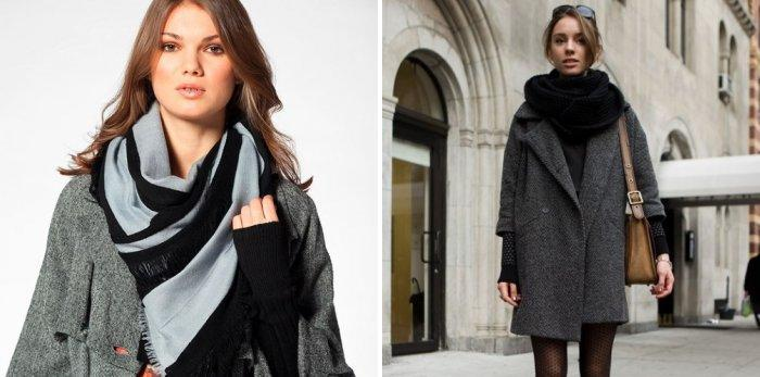 Палантин поверх элегантного пальто
