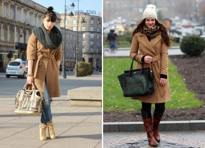 Палантин с пальто светло-коричневого цвета