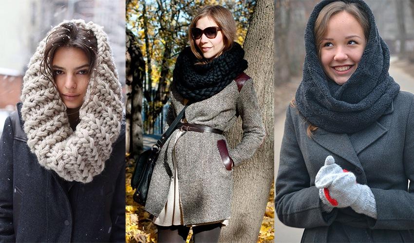 Толстый вязанный палантин с серым пальто