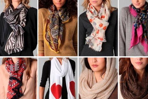 Различные способы завязывания шарфа