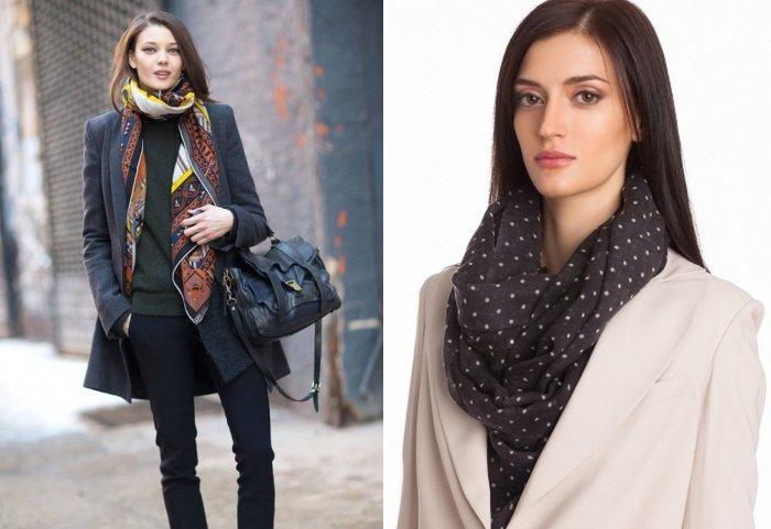 Шелковый длинный шарф поверх пальто