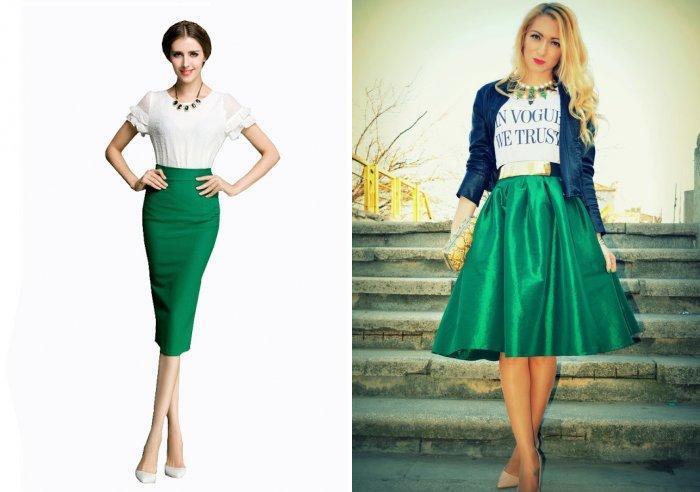 Зеленая юбка с однотонной блузой