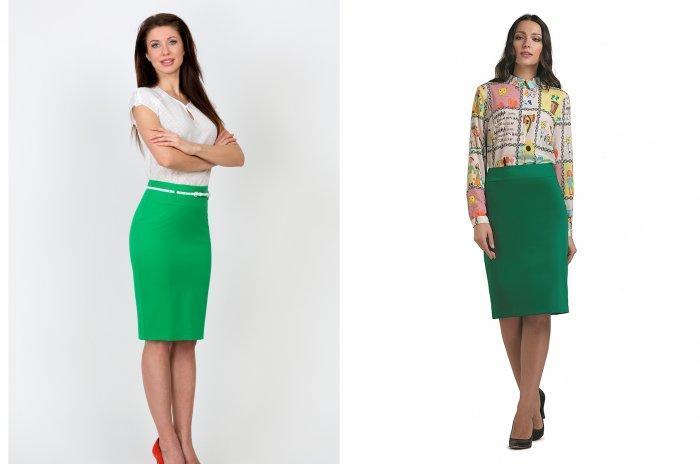 Строгая зеленая юбка
