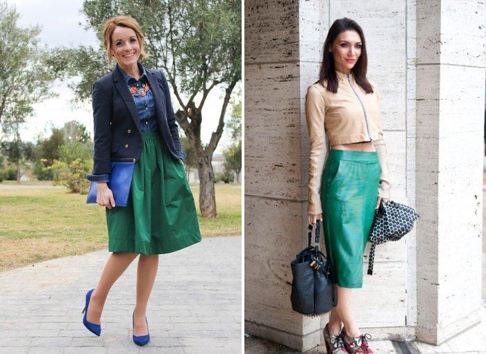 Зеленая юбка с яркими туфлями