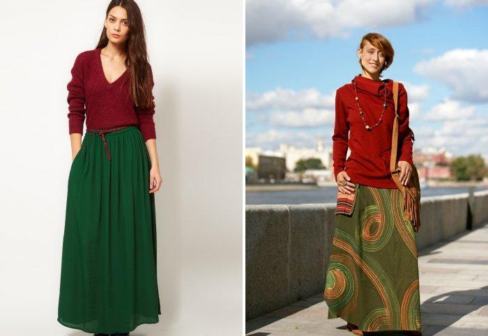 Длинная зеленая юбка в паре с коричневым