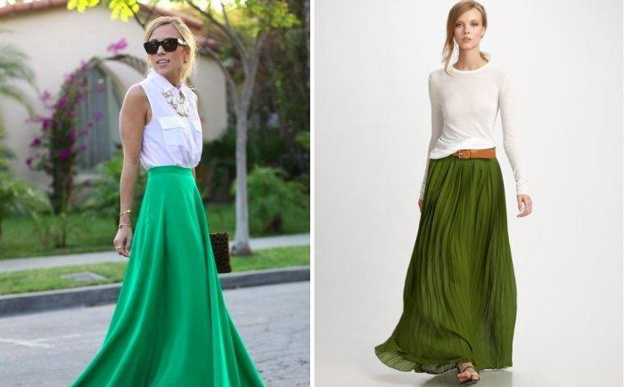 Длинная зеленая юбка с белой блузой