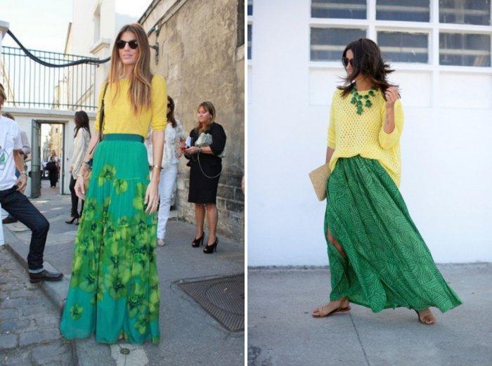 Длинная зеленая юбка с желтой блузой