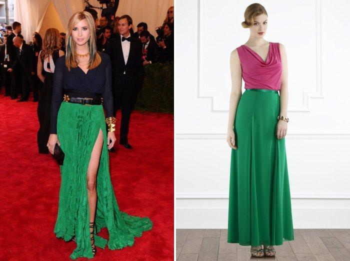 Длинная зеленая юбка с однотонными яркими блузами