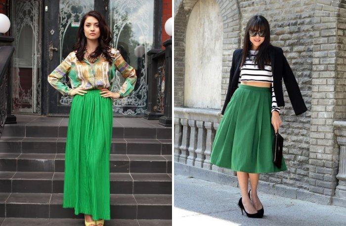 Длинная зеленая юбка с цветными блузами