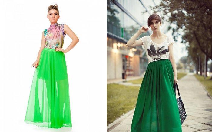 Длинная зеленая юбка с яркой кофтой