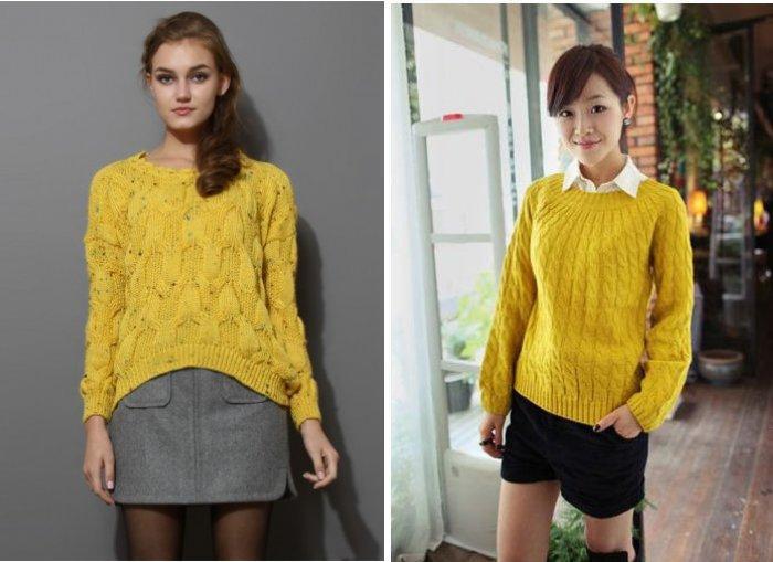 Желтый свитер с серыми и черными сочетаниями