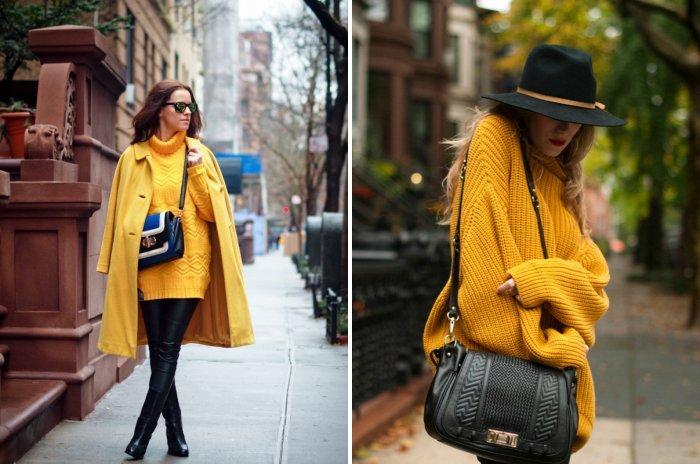 Желтый свитер с черными леггинсами
