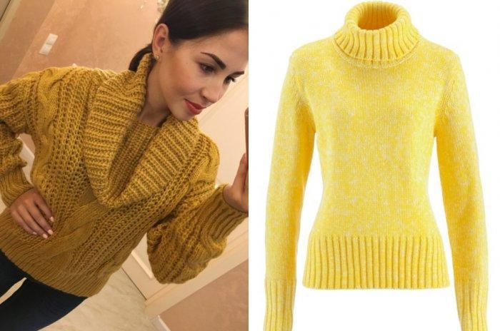 Желтый свитер с высокой горловиной