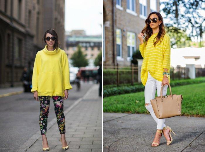 Желтый свитер стиля оверсайз
