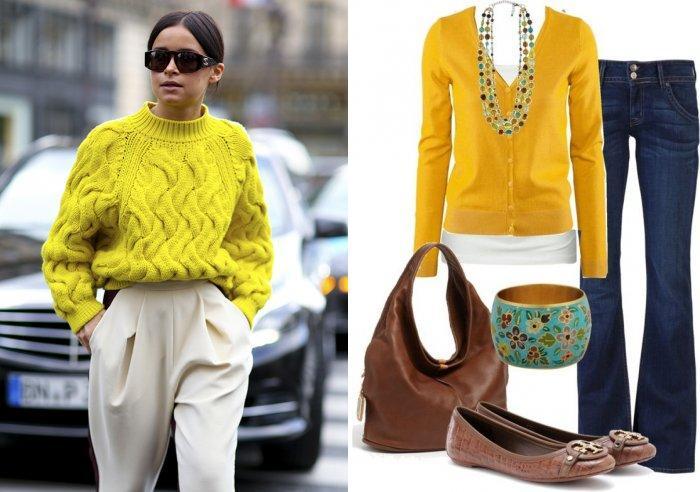 Желтый свитер для работы в офисе