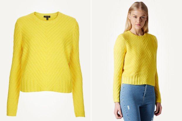Желтый свитер из тонкой пряжи