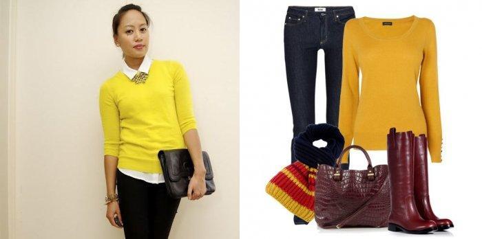 Желтый свитер с узкими брюками