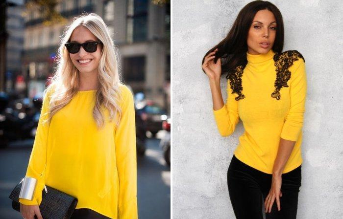 Ярко-желтый модный свитер